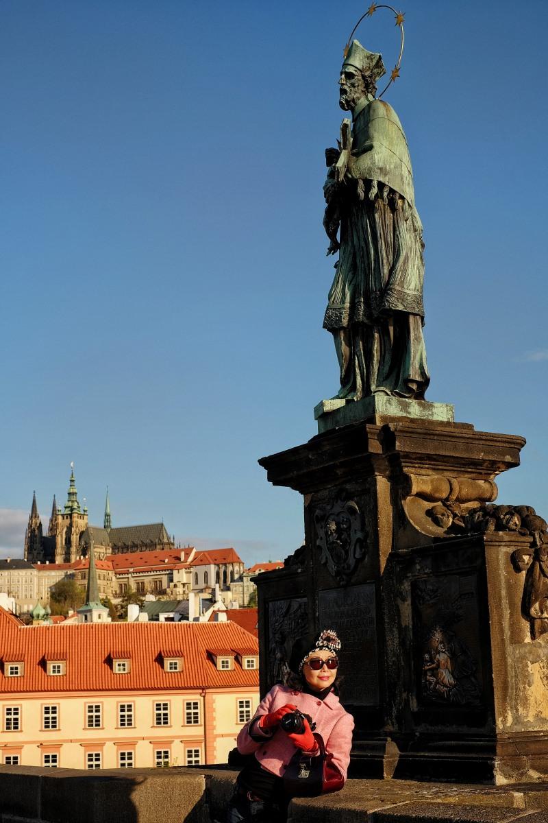 White Caviar Life Prague fashion story on location at Charles Bridge.