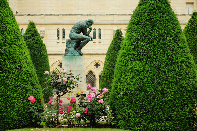The Thinker in the garden of Rodin Museum.