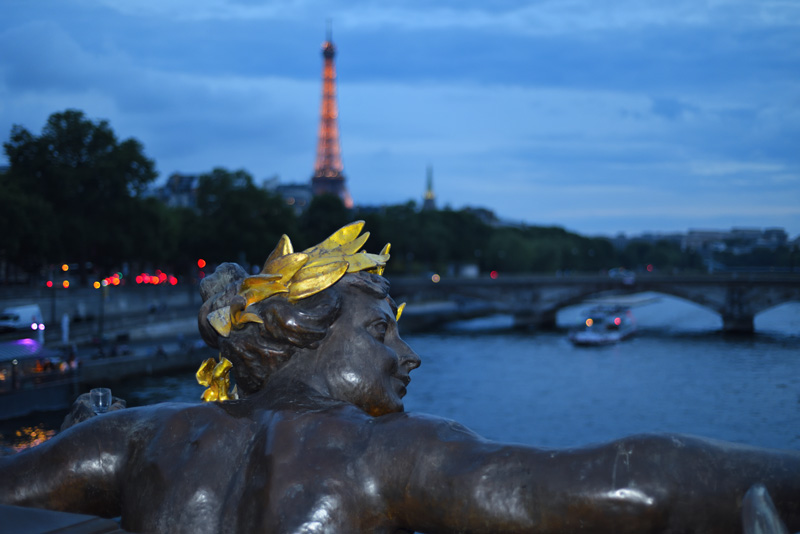 Overlooking La Seine from Pont Alexandre III after dark.