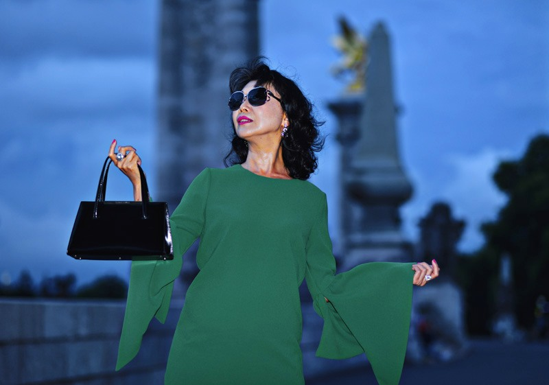 White Caviar Life editorial fashion shoot in Paris Pont Alexandre III by fashion photographer Kent Johnson.