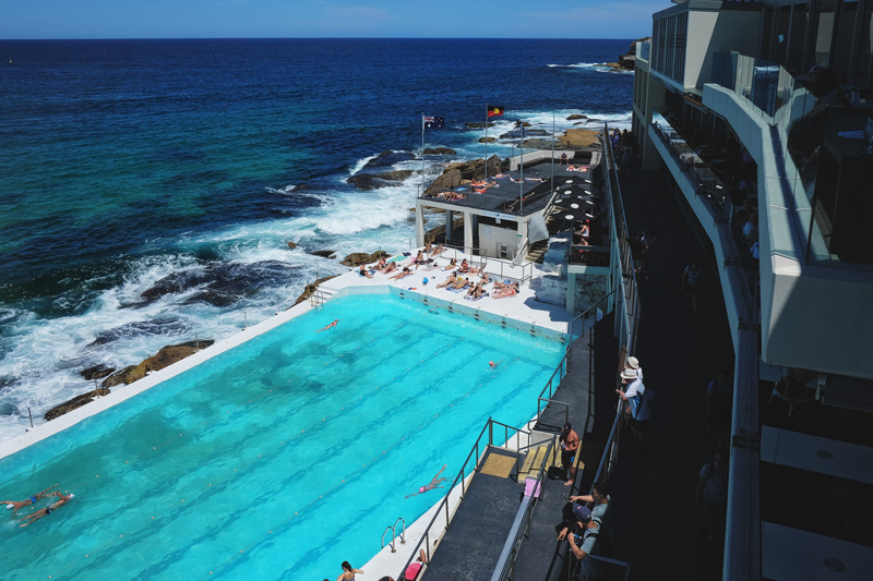 Overlooking the pool of Bondi Icebergs from the balcony of the Icebergs Dining Room and Bar.