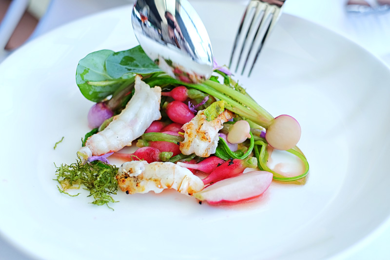 WA scampi and radishes... A plate of colourful starter at the Icebergs Dining Room and Bar.