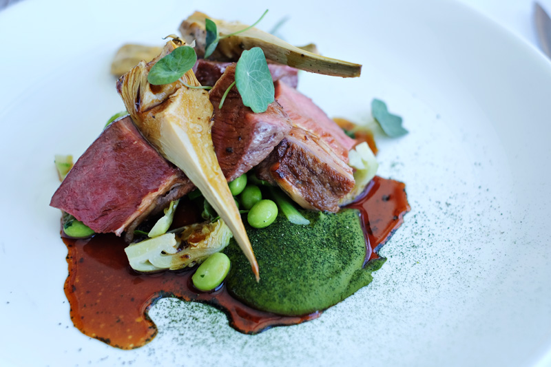Kent's roasted lamb had me mouth-watering. At Icebergs Dining Room and Bar.