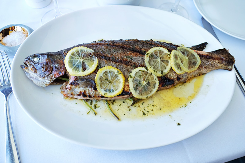 The Rainbow Trout whole fish served at the Icebergs Dining Room, Bondi Beach.