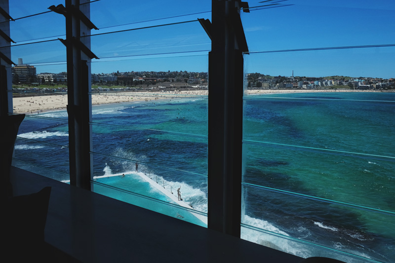 Bondi Beach view from a dining table at the Icebergs Dining Room.
