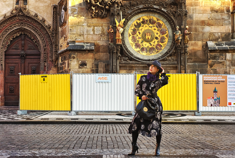 Kent Johnson photography for White Caviar Life fashion story too place in front of the Prague astronomical clock.