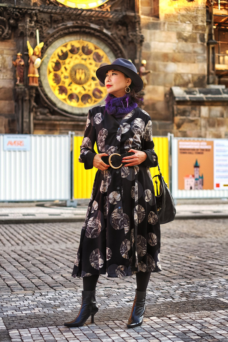 White Caviar Life fashion shoot in Prague Old Town Square.