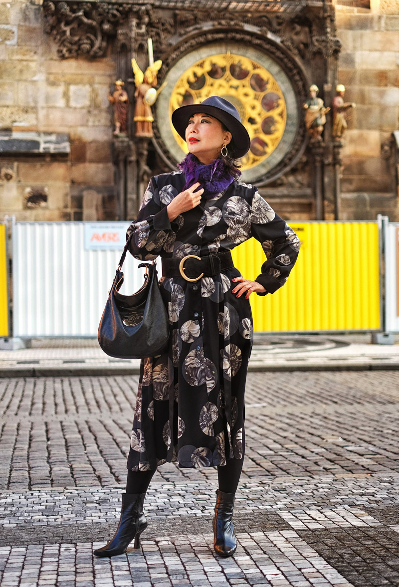 Vivienne Shui Prague spring fashion portrait by fashion photographer Kent Johnson.