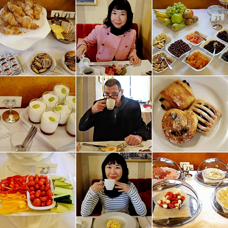 Enjoying our wonderful breakfasts during our 10-night stay at the Alchymist Nosticova Palace in Prague.