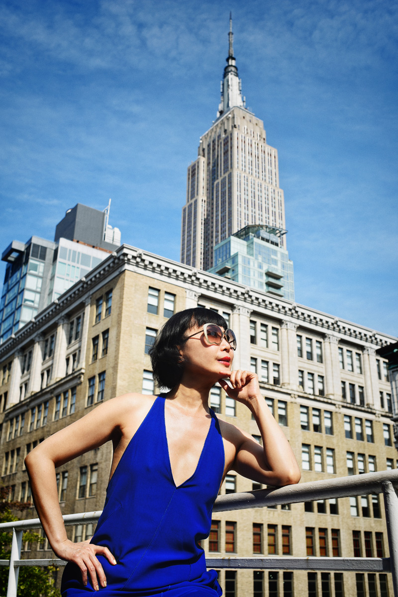 White Caviar Life 'New York State of Mind' fashion shoot at The Roger hotel's penthouse Terrace Room with the view of the Empire State Building.