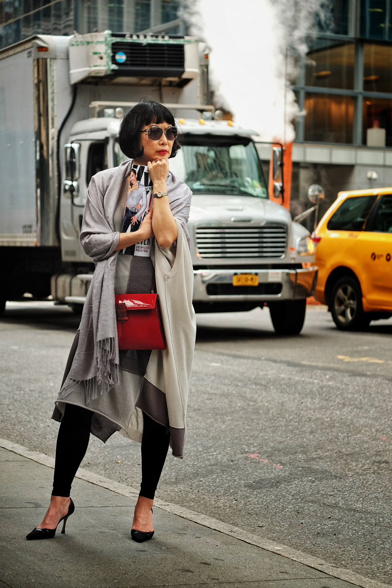 'Manolo and the City' New York street style photoshoot by fashion photographer Kent Johnson.