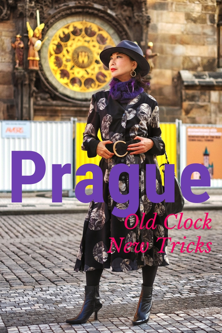 Prague fashion shoot on location at the Prague Astronomical Clock (Prague Orloj).