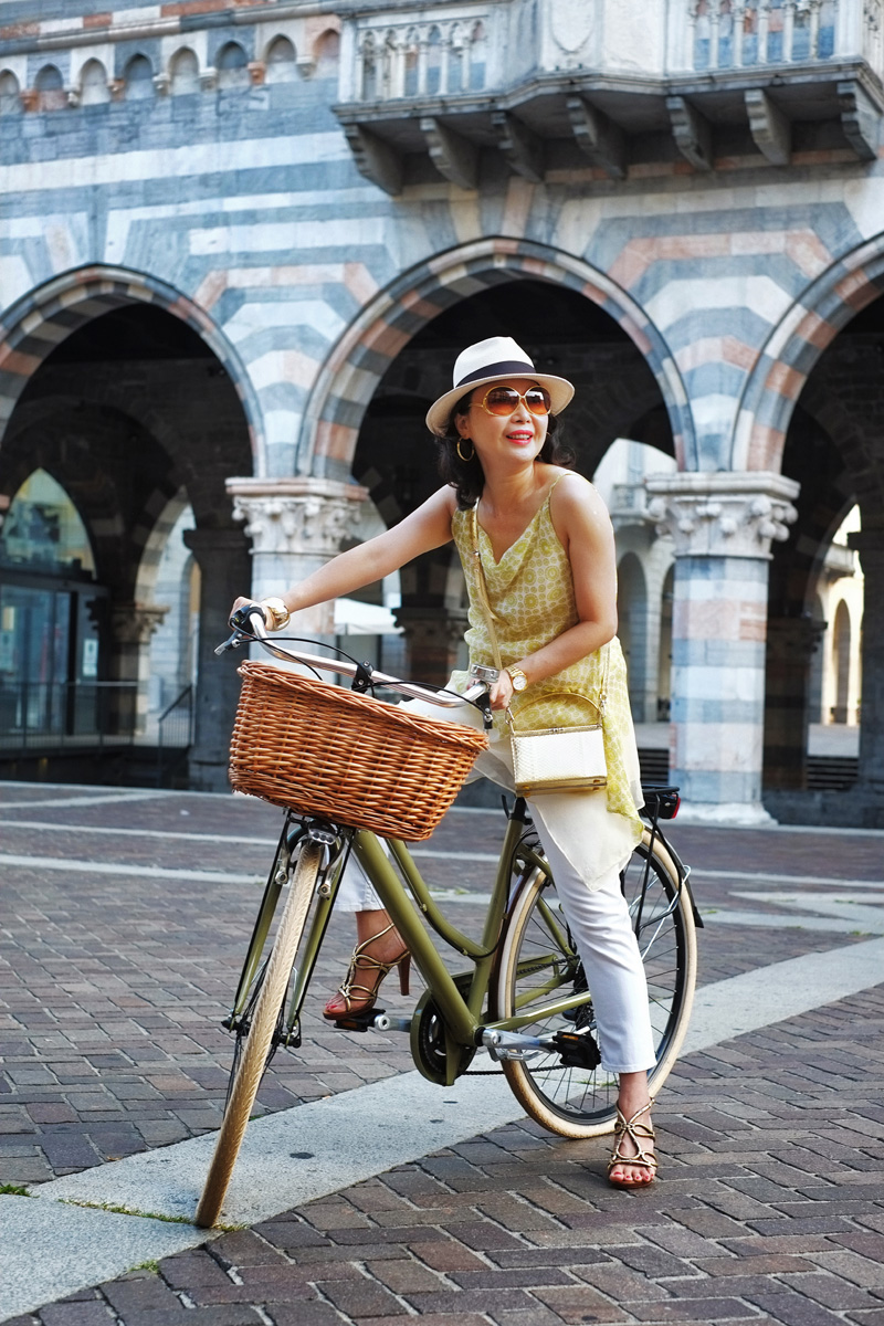 'The Girl with Her Vintage Bike' - Como cycling fashion shoot by Kent Johnson.