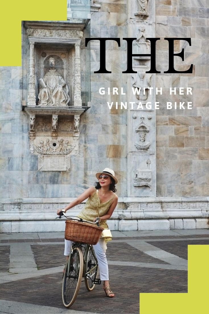 'The Girl with Her Vintage Bike' fashion shoot on location in Como, Italy.