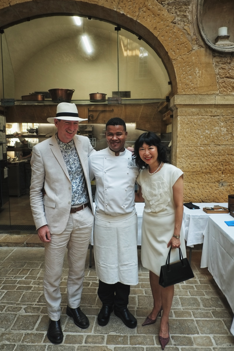 Left to right: Photographer Kent Johnson, Michelin-Starred Chef Jean-Alexandre Ouaratta and White Caviar Life creator Vivienne She at Le 1217 Restaurant.