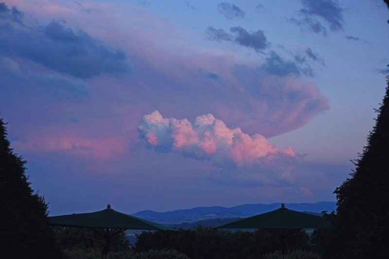 Dramatic clouds floating above the Beaujolais region in France.