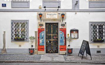 The facade of San Carlo Malá Strana in Prague.