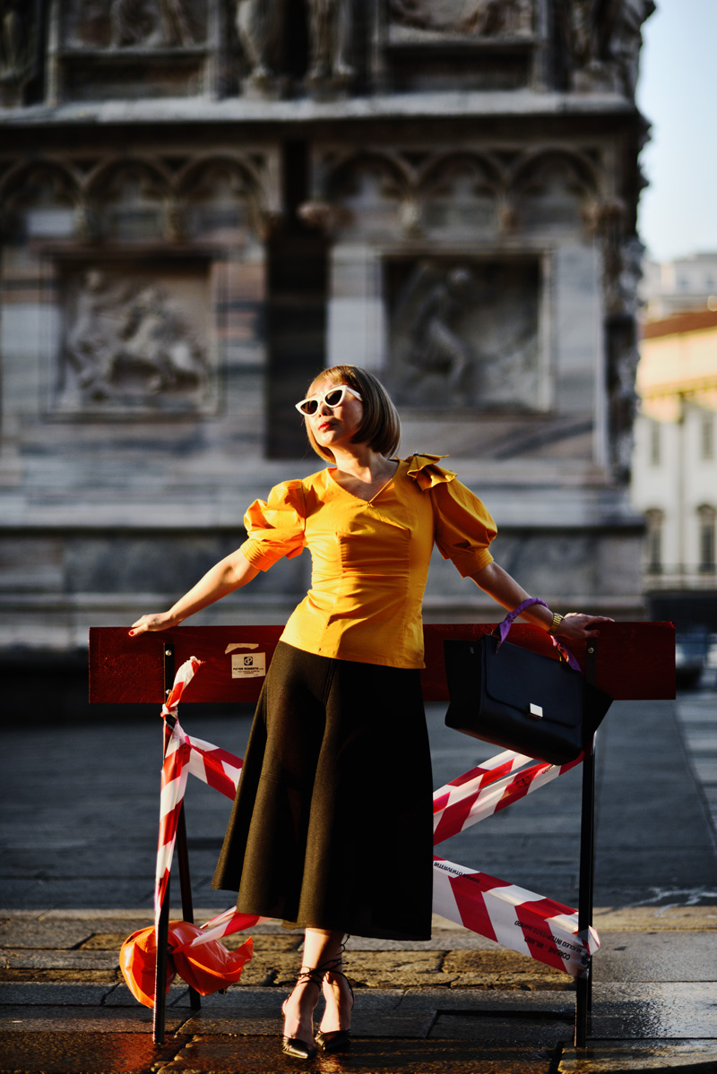 White Caviar Life Milan fashion shoot on location at Milan Duomo (Milan Cathedral) by fashion photographer Kent Johnson.