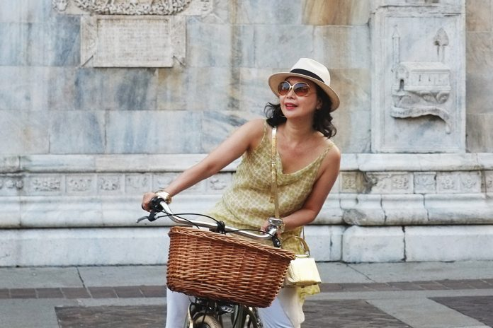'The Girl with Her Vintage Bike' Como cycling fashion story.