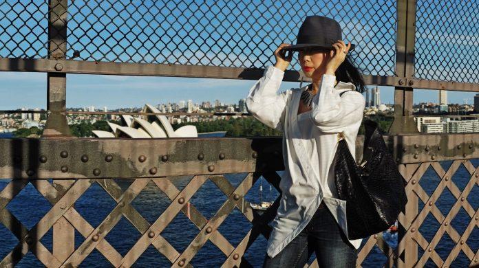 Fashion portrait on Sydney Harbour Bridge by photographer Kent Johnson.