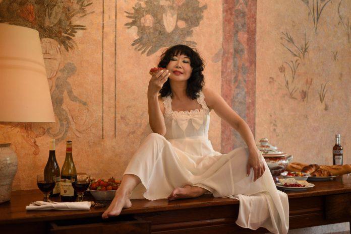 'La Femme in Festive Mood' fashion story on location at Château de Bagnols.