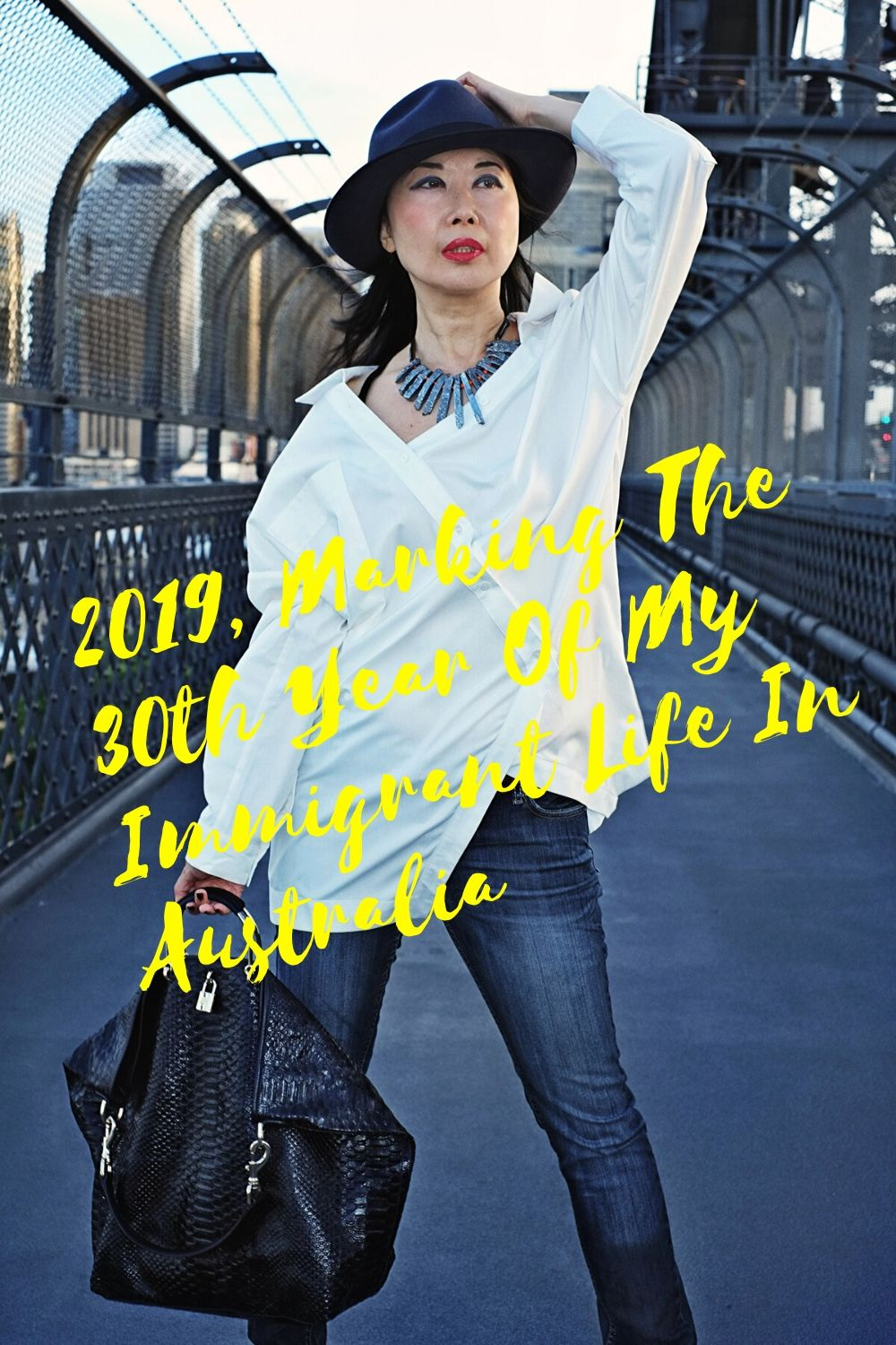 2019, Marking the 30th Year of My Immigrant Life in Australia. Portraits by fashion photographer Kent Johnson on location at Sydney Harbour Bridge.