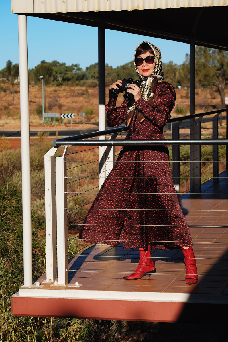 Double animal print fashion story by White Caviar Life. Location shoot in Australian outback desert town Yulara by fashion photographer Kent Johnson.