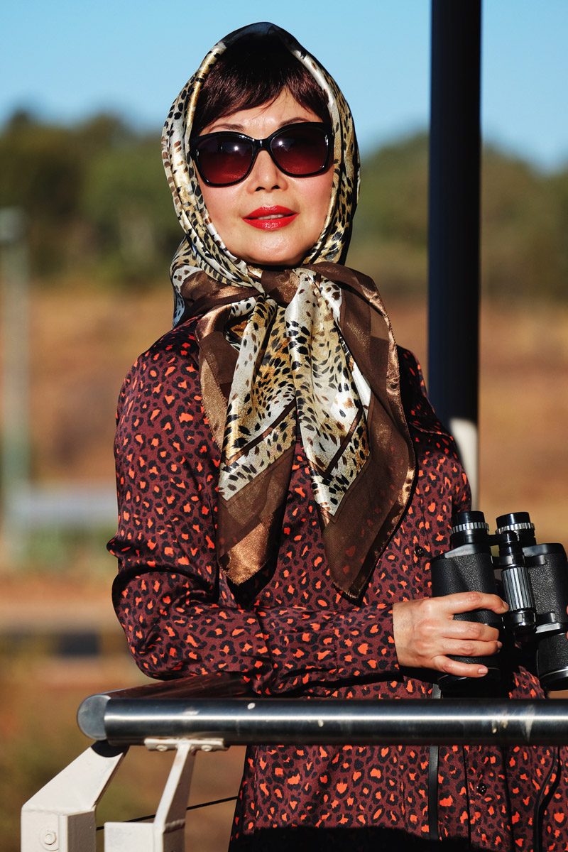 Safari fashion story by White Caviar Life. Double animal print styling by Vivienne Shui. Location shoot in the Red Centre of Australia by fashion photographer Kent Johnson.