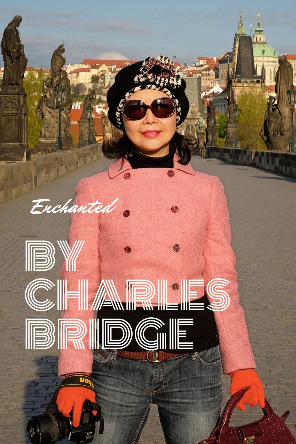 Enchanted by Charles Bridge. Portrait photoshoot on location at Charles Bridge in Prague by fashion photographer Kent Johnson for White Caviar Life.