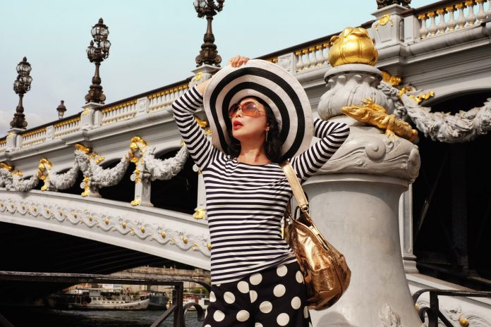 Pont Alexandre III fashion portrait by Australian photographer Kent Johnson for White Caviar Life.