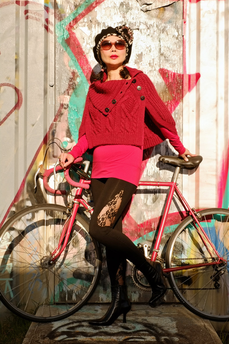 'Poncho, Bicycle and Daddy's Girl' fashion story by White Caviar Life. Sydney street art photoshoot by fashion photographer Kent Johnson.
