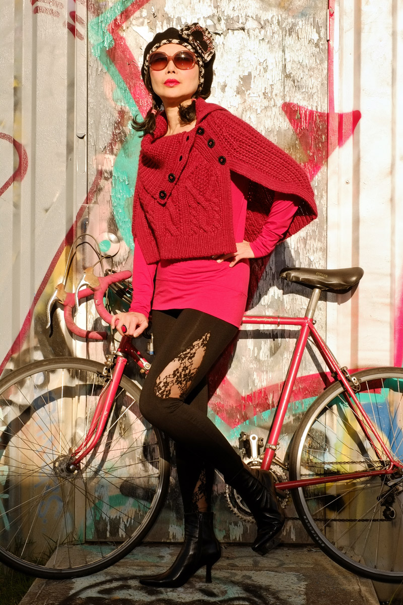 'Poncho, Bicycle and Daddy's Girl' fashion diary by White Caviar Life. Street style cycling chic photoshoot by Sydney fashion photographer Kent Johnson.