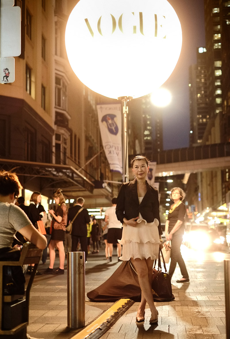Pitt Street Mall, Vogue Fashion's Night Out in Sydney. Portrait by Kent Johnson from Street Fashion Sydney.