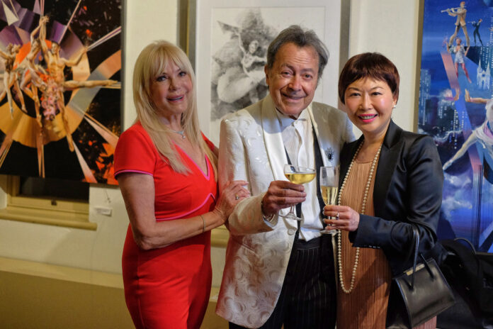 'Sabrage Vernissage - A Soirée at the Billich Gallery' event coverage by White Caviar Life. From left to right: Christa Billich, Charles Billich and White Caviar Life writer Vivienne She.