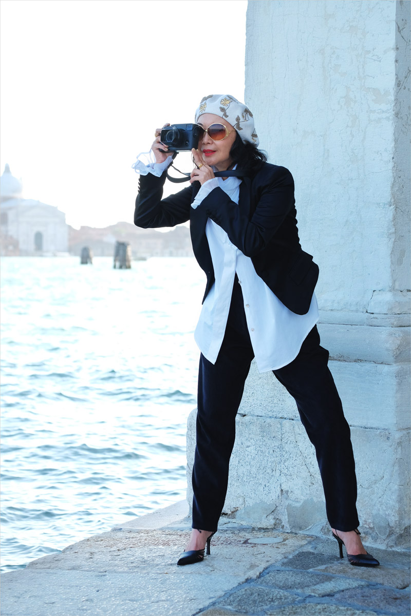 Pirate blouse styling with black blazer and black pants. New Romantic inspired look. Fashion photography by Kent Johnson for White Caviar Life. Photoshoot on location in Venice.